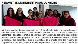 #ApprentieToiAussi : quand les apprenties de Renault se mobilisent pour la mixité