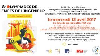 Invitation Olympiades des SI, INSA Lyon, 12 avril.