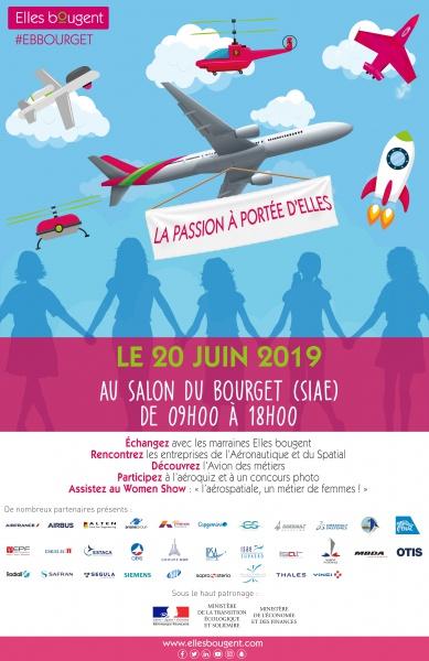 La passion à portée d'elles: 200 étudiantes et lycéennes invitées au salon du Bourget avec Elles Bougent le 20 juin 2019