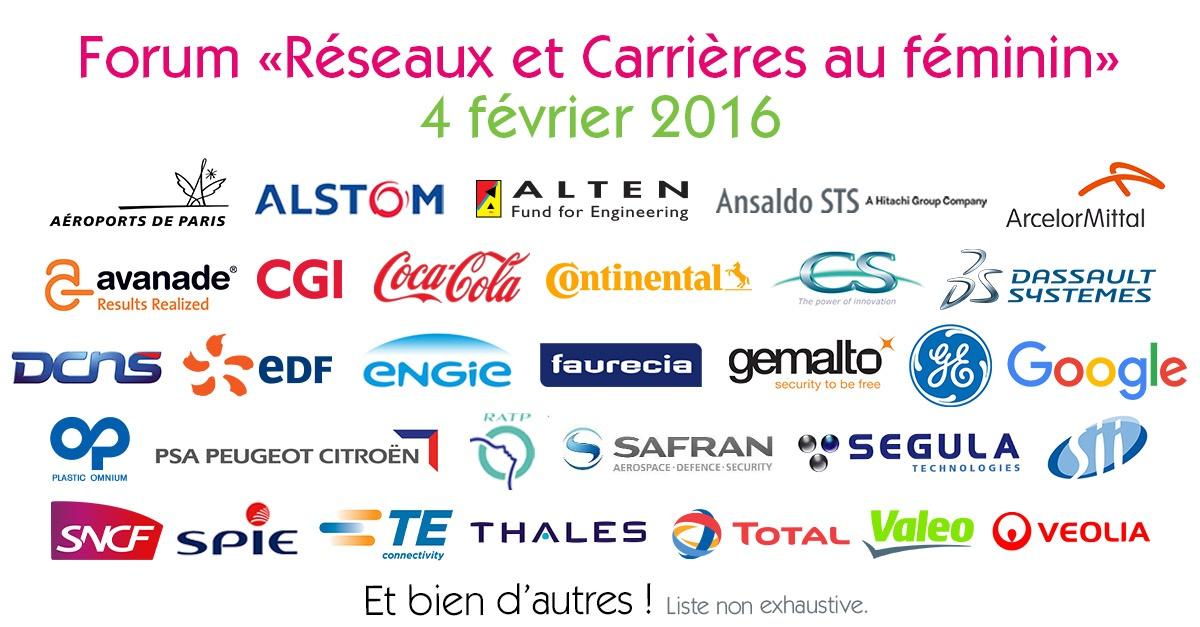 Entreprises partenaires au Forum Réseaux et Carrières au féminin 2016