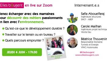 Elles bougent en Live : les métiers de l'environnement - jeudi 4 juin 17h30