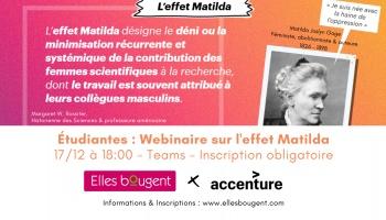 Etudiantes : Assistez au webinaire Accenture sur l'Effet Matilda !
