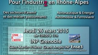 Elles bougent pour l'Industrie en Rhône-Alpes les 26 et 31 mars